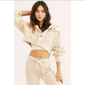 Free People Dreamers Cream Cropped Hooded Jacket L
